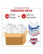 Anti Covid-19 Commuter Premium Pack of 30 KN95/FFP2 Respirators & 5 x 100ml Hand Spray Santitisers