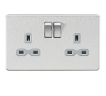 Screwless 13A 2G DP switched socket - Brushed chrome with grey insert