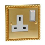 Single Georgian Brass Switched Socket