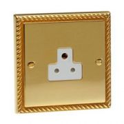 3 Pin Unswitched 2 Amp Georgian Brass Socket