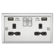 Knightsbridge 13A 2 Gang Switched Socket, Dual USB Charger Slots With Black Insert - Bevelled Edge Polished Chrome, CV92PC