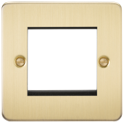 Knightsbridge Flat Plate 2 Gang Modular Faceplate - Brushed Brass, FP2GBB