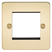 Knightsbridge Flat Plate 2 Gang Modular Faceplate - Polished Brass, FP2GPB