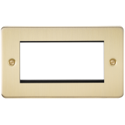 Knightsbridge Flat Plate 4 Gang Modular Faceplate - Brushed Brass, FP4GBB