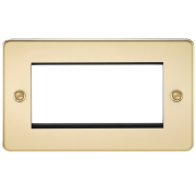 Knightsbridge Flat Plate 4 Gang Modular Faceplate - Polished Brass, FP4GPB
