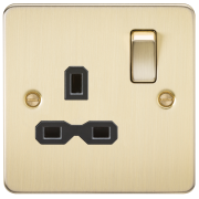 Knightsbridge Flat Plate 13A 1 Gang DP Switched Socket - Brushed Brass With Black Insert, FPR7000BB