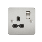 Knightsbridge Flat Plate 13A 1 Gang DP Switched Socket - Brushed Chrome With Black Insert, FPR7000BC