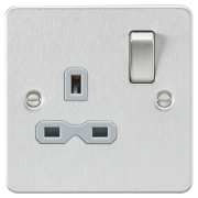 Knightsbridge Flat Plate 13A 1 Gang DP Switched Socket - Brushed Chrome With Grey Insert, FPR7000BCG