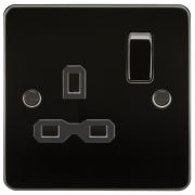 Knightsbridge Flat Plate 13A 1 Gang DP Switched Socket - Gunmetal With Black Insert, FPR7000GM