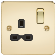 Knightsbridge Flat Plate 13A 1 Gang DP Switched Socket - Polished Brass With Black Insert, FPR7000PB