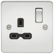 Knightsbridge Flat Plate 13A 1 Gang DP Switched Socket - Polished Chrome With Black Insert, FPR7000PC
