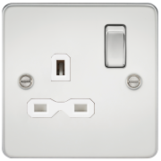 Knightsbridge Flat Plate 13A 1 Gang DP Switched Socket - Polished Chrome With White Insert, FPR7000PCW
