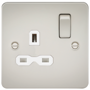 Knightsbridge Flat Plate 13A 1 Gang DP Switched Socket - Pearl With White Insert, FPR7000PLW