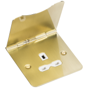 Knightsbridge 13A 1 Gang Unswitched Floor Socket - Brushed Brass With White Insert, FPR7UBBW