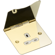 Knightsbridge 13A 1 Gang Unswitched Floor Socket - Polished Brass With White Insert, FPR7UPBW