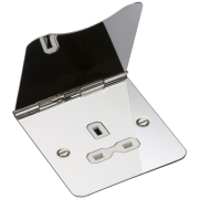 Knightsbridge 13A 1 Gang Unswitched Floor Socket - Polished Chrome With White Insert, FPR7UPCW