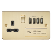 Knightsbridge Flat Plate 13A Switched Socket With Quad USB Charger - Brushed Brass With Black Insert, FPR7USB4BB