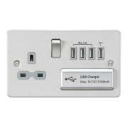 Knightsbridge Flat Plate 13A Switched Socket With Quad USB Charger - Brushed Chrome With Grey Insert, FPR7USB4BCG