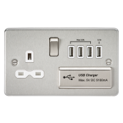 Knightsbridge Flat Plate 13A Switched Socket With Quad USB Charger - Brushed Chrome With White Insert, FPR7USB4BCW