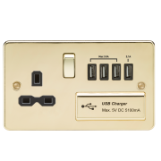Knightsbridge Flat Plate 13A Switched Socket With Quad USB Charger - Polished Brass With Black Insert, FPR7USB4PB