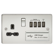 Knightsbridge Flat Plate 13A Switched Socket With Quad USB Charger - Polished Chrome With Black Insert, FPR7USB4PC