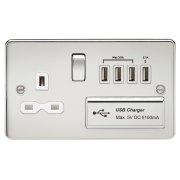 Knightsbridge Flat Plate 13A Switched Socket With Quad USB Charger - Polished Chrome With White Insert, FPR7USB4PCW