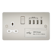 Knightsbridge Flat Plate 13A Switched Socket With Quad USB Charger - Pearl With White Insert, FPR7USB4PLW