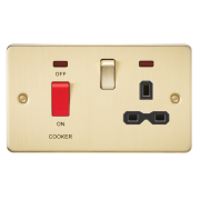Knightsbridge Flat Plate 45A DP Switch And 13A Switched Socket With Neon - Brushed Brass With Black Insert, FPR8333NBB