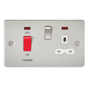 Knightsbridge Flat Plate 45A DP Switch And 13A Switched Socket With Neon - Brushed Chrome With White Insert, FPR8333NBCW
