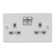 Knightsbridge Flat Plate 13A 2 Gang DP Switched Socket - Brushed Chrome With Grey Insert, FPR9000BCG