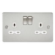 FLAT PLATE 13A 1G DP SWITCHED SOCKET - POLISHED CHROME WITH BLACK INSERT