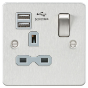 Knightsbridge Flat Plate 13A 1 Gang Switched Socket With Dual USB Charger - Brushed Chrome With Grey Insert, FPR9901BCG