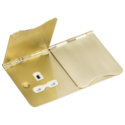 Knightsbridge 13A 2 Gang Unswitched Floor Socket - Brushed Brass With White Insert, FPR9UBBW