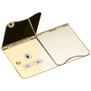 Knightsbridge 13A 2 Gang Unswitched Floor Socket - Polished Brass With White Insert, FPR9UPBW