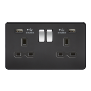 SCREWLESS 13A 2G SWITCHED SOCKET WITH DUAL USB CHARGER - MATT BLACK W/CHROME ROCKER