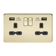 SCREWLESS 13A 2G SWITCHED SOCKET WITH DUAL USB CHARGER - POLISHED BRASS WITH BLACK INSERT