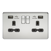 SCREWLESS 13A 2G SWITCHED SOCKET WITH DUAL USB CHARGER - POLISHED CHROME WITH BLACK INSERT