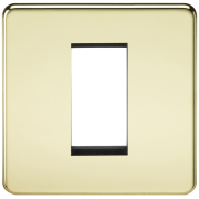 Knightsbridge Screwless 1 Gang Modular Faceplate - Polished Brass, SF1GPB