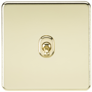 Knightsbridge Screwless 10A 1 Gang 2 Way Toggle Switch - Polished Brass, SF1TOGPB