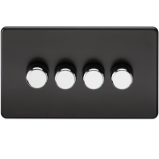 Knightsbridge Screwless 4 Gang 2 Way 40-400W Dimmer Switch - Matt Black, SF2174MB