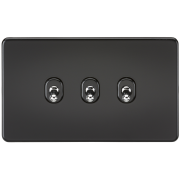 Knightsbridge Screwless 10A 3 Gang 2 Way Toggle Switch - Matt Black, SF3TOGMB