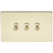 Knightsbridge Screwless 10A 3 Gang 2 Way Toggle Switch - Polished Brass, SF3TOGPB