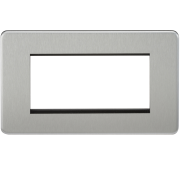 Knightsbridge Screwless 4 Gang Modular Faceplate - Brushed Chrome, SF4GBC