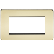 Knightsbridge Screwless 4 Gang Modular Faceplate - Polished Brass, SF4GPB