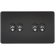 Knightsbridge Screwless 10A 4 Gang 2 Way Toggle Switch - Matt Black, SF4TOGMB