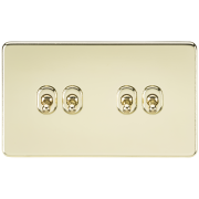 Knightsbridge Screwless 10A 4 Gang 2 Way Toggle Switch - Polished Brass, SF4TOGPB