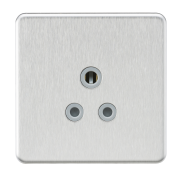 Knightsbridge Screwless 5A Unswitched Round Socket - Brushed Chrome With Grey Insert, SF5ABCG
