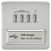Knightsbridge Screwless Quad USB Charger Outlet - Brushed Chrome With Grey Insert, SFQUADBCG