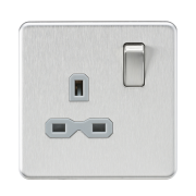 Knightsbridge Screwless 13A 1 Gang DP Switched Socket - Brushed Chrome With Grey Insert, SFR7000BCG