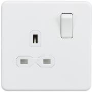 Knightsbridge Screwless 13A 1 Gang DP Switched Socket - Matt White, SFR7000MW